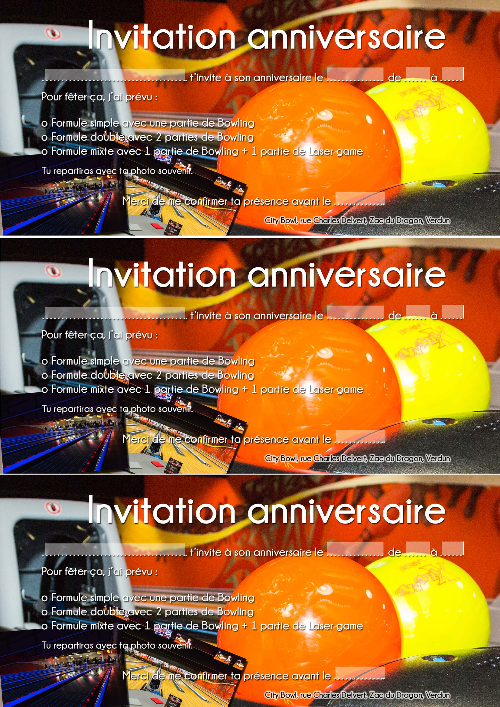 anniversaire bowling laser game